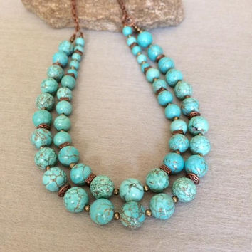 Turquoise Statement Necklace Double Strand Turquoise Necklace Boho Bead Necklace Turquoise Stone Necklace Bib Necklace Christmas Gift Her