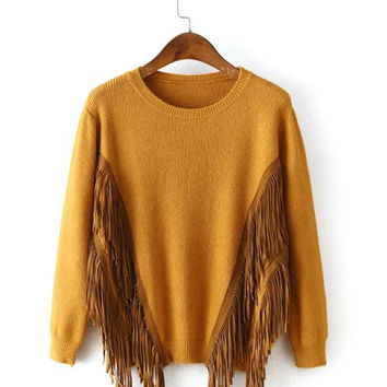 Long Sleeve Fringed Sweater
