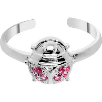 925 Sterling Silver Cubic Zirconia Ladybug Toe Ring