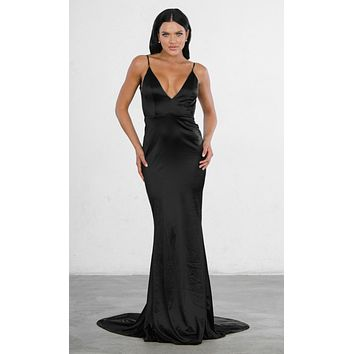 Indie XO Glowing Goddess Satin Sleeveless Spaghetti Strap Plunge V Neck Ruched Back Mermaid Maxi Dress - 2 Colors Available