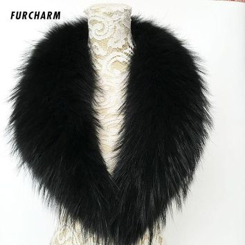 DCCKJG2 100% Real Rraccoon Fur Collar Scarf Genuine Big Size Scarves Warp Shawl Neck Warmer Stole Muffler 80cm/90cm/100cm