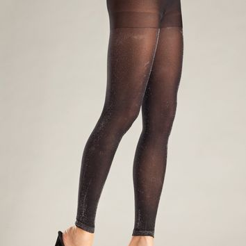 Be Wicked Opaque Black and Silver Footless Pantyhose