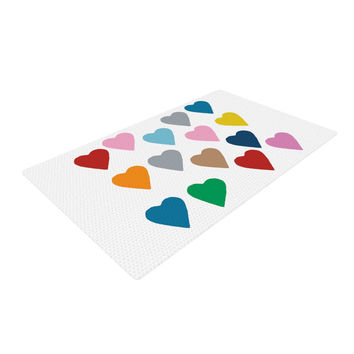 """Project M """"Colorful Hearts"""" Woven Area Rug"""