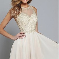Buy discount Elegant Tulle & Chiffon Jewel Neckline A-line Homecoming Dresses with Lace Appliques at Dressilyme.com