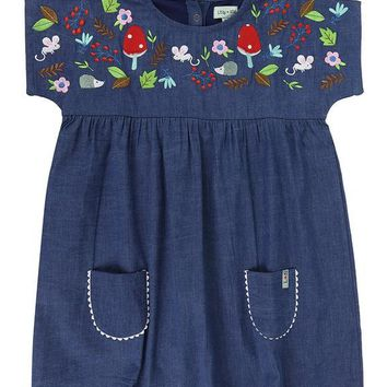 Embroidered Denim Dress by Lilly+Sid