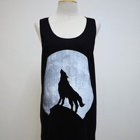 Howling of Wolf  (Size M) : The Haunting in Moonlight t-shirt tank top Tunic Unisex Shirt Vest Women Sleeveless men Singlet Black T-Shirt