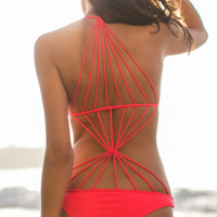 Red Scoop Neckline Swimwear with Back Strappy Design
