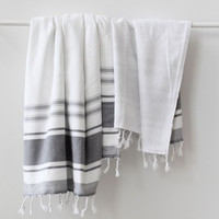 Turkish Towel | Bodrum Towel | New Grey Stripe
