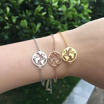 Dropshipping Somsoar Jewelry 15mm The world Map Pendant Chain Bracelet with 16cm Stainless Steel Link Chain Bracelet for Women