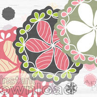 Doily clip art set, mix and match digital elements,  scrapbooking, spring clipart, pink, green, photoshop elements, instant digital download