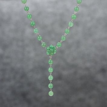 Jade stone long lariat necklace bridesmaids gifts Free US Shipping handmade Anni designs