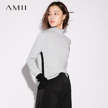 Amii Casual Minimalist Women Sweater 2017 Contrast Color Patchwork Turtleneck Long Sleeve Female Pullovers Sweaters
