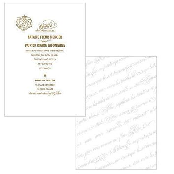Parisian Love Letter Invitation Vintage Gold (Pack of 1)