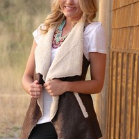 Faux Fantasy Chocolate Suede Asymmetrical Vest