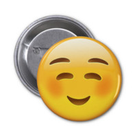 White Smiling Face Emoji Button