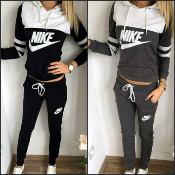 "Cool ""NIKE"" Print Hoodie Top Sweater Pants Sweatpants Set Two-Piece Sportswear"
