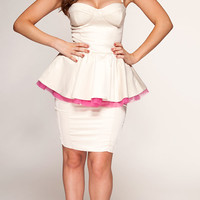 Clothing : Peplum Dresses : 'Lulu' Nude Satin & Pink Tulle Peplum Dress