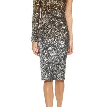 Dress the Population Chrissie One-Shoulder Ombré Sequin Sheath Dress | Nordstrom