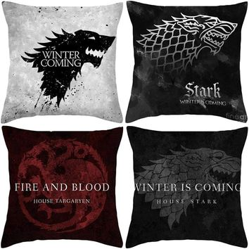 Game of Thrones Style Cushion TV 100% Polyester House Logo Cushion Home Decorative Throw Pillowcase Sofa Chair Car Cojines
