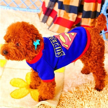 Dynamic Superman outfit pet dog sweater pet dog clothes Teddy spring sportswear pet clothes dog clothes roupa para cachorro = 1946448772