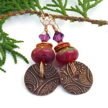Copper Paisley Disc and Sunrise Lampwork Boho Earrings, Pink Purple Handmade Artisan Jewelry