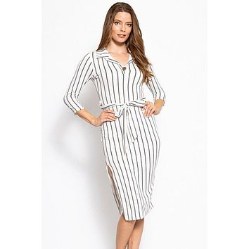 Stripes Print, Midi Dress With 3/4 Sleeves, Collared V Neckline, Matching Belt And A Side Slit