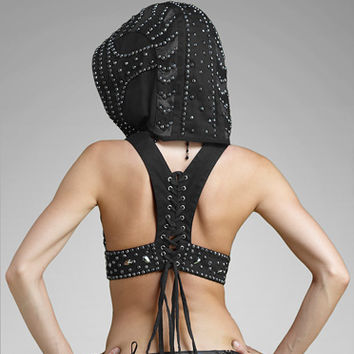 Gelareh Designs Beaded Crop Hoodie
