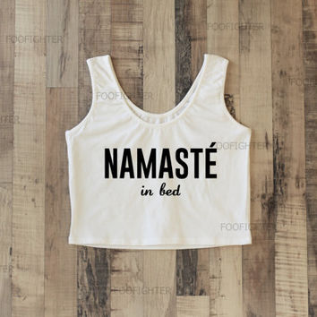 Namaste In Bed Shirt Sporty Crop Top Yoga Top Tank Top Midriff Mid Driff Belly Shirt – Size S M