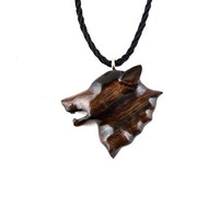 Mens Wolf Necklace, Wolf Pendant, Wolf Necklace, Wooden Wolf Necklace,Tribal Wolf  Pendant, Men Tribal Necklace, Wolf Jewelry, Totem Jewelry