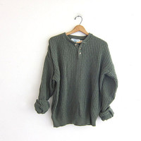 Vintage army green henley sweater. Button front henley. slouchy Boyfriend sweater