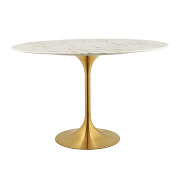 "Lippa 48"" Oval Dining Table Gold White EEI-3216-GLD-WHI"