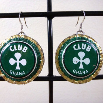 Green Shamrock Bottle Cap Earrings - Recycled Club Ghana - Supporting the Deaf in Ghana