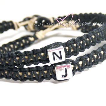 Personalized Jewelry Letter Bracelets for Couples Set of 2 Made To Order 3 week production time