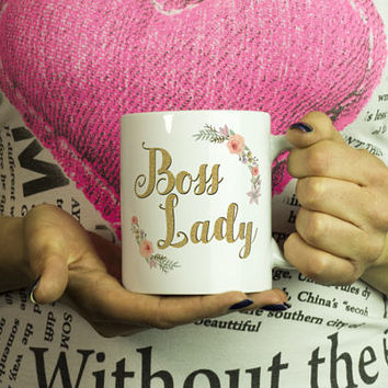 Gift For Boss Mug | Boss Lady Mug | Boss Lady Mugs | Funny Boss Lady Mug | Floral Boss Lady Cup | Funny Mug for Boss | Boss Lady Coffe Mug