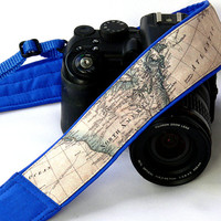 World Map Camera Strap. Blue Camera Strap. Nikon, Canon Camera Strap. SLR, DSLR Camera Strap. Gift For Photographer.