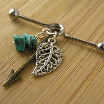 Leaf, Arrow & Turquoise Industrial Barbell Bar Piercing Body Jewelry Tribal Boho Bohemian Earring 14g Bronze Silver Filigree Organic