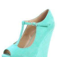 Breckelle's Cece-02 Mint Peep Toe T Strap Platform Wedges and Shop Shoes at MakeMeChic.com