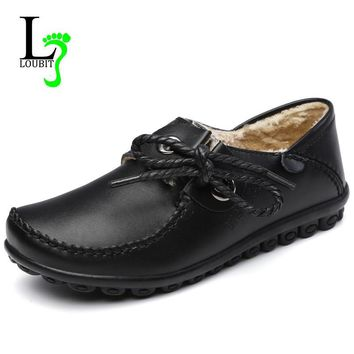 2018 New Winter Women Leather Loafers Shoes Women Flats Moccasins Oxford Shoes Woman Fur Plush Flats Size 41