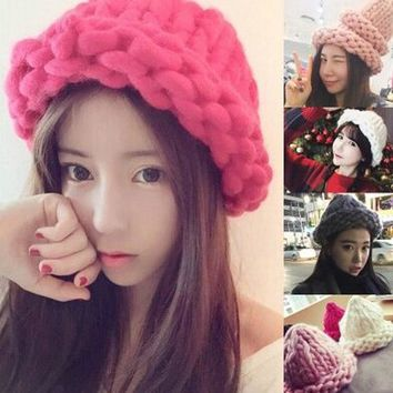 Women Winter Warm Hat Handmade Knitted Coarse Lines Cable Hats Knit Cap Beanie Crochet Caps Women Accessories KH986726