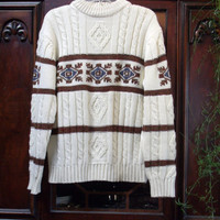 Vintage Sears King's Road, Men's Cream Cable Knit Crew neck Sweater