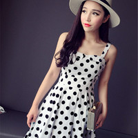 Polka Dot Strap Skater Mini Dress