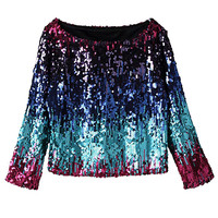 Blue Sequined Long Sleeve Crop Top