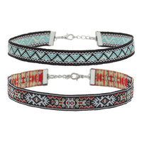 Folk Pattern Woven Fabric Chokers Set
