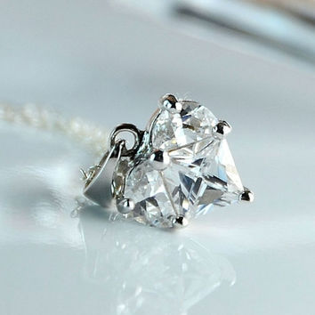 All Sterling Dainty Cubic Zirconia Heart Necklace by Beautiful2u