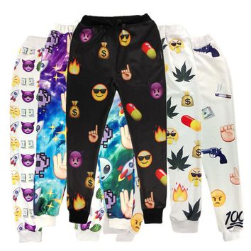 2017 New Fashion Emoji Joggers Sweatpants Nail/Rokets/Maple/Pistol/Alien/Fingers Trousers for women/men Pants