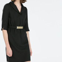 Black Sleeve A-Line Collared Dress