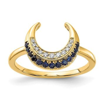 14k Yellow Gold Crescent Moon Blue Sapphire And Diamond Ring