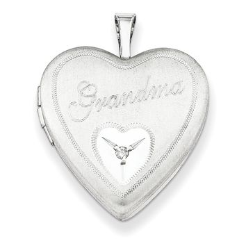 Sterling Silver Rhodium-plated 20mm Grandma with Diamond Heart Locket QLS252