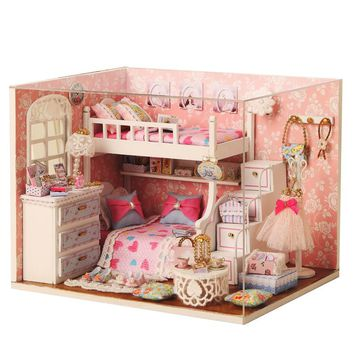Homemade DIY Dollhouse Kit to Build Wooden Miniature Furniture House Craft - Dream Angel