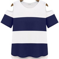 Cutout-Sleeves Contrast Striped Tee - OASAP.com